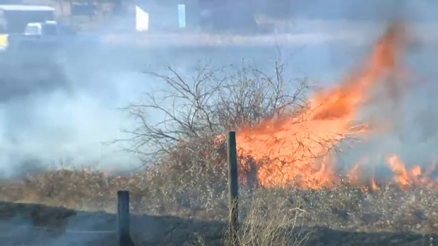 Friday afternoon grass fire east of Calgary near the new subdivision of Cambridge Park