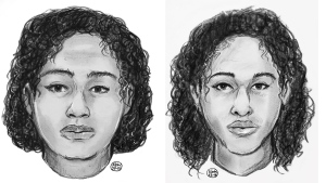 This composite image, from undated sketches provided by the New York Police Department on Saturday, Oct. 27, 2018, shows Tala Farea, 16, (left) and Rotana Farea, 22 (right) of Fairfax, Va. (New York Police Department via AP)
