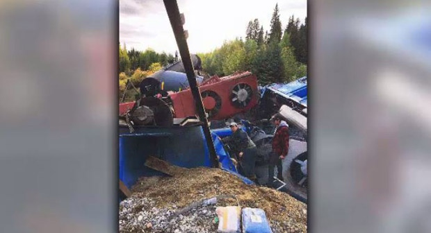 New photos given to CTV News, taken by Jackie Gogal show a hand outside one of the locomotives and several close up angles of the wreckage.