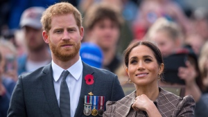 The Duke and Duchess of Sussex view the newly unveiled UK war memorial and visit Pukeahu National War Memorial Park in Wellington, New Zealand, Sunday, Oct. 28, 2018. (Dominic Lipinski/Pool Photo via AP)