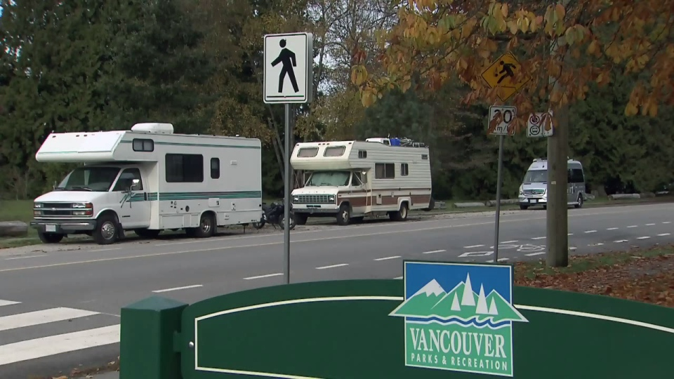 RVs are seen parked in Vancouver on Saturday, Oct. 27, 2018. Unable to afford more permanent forms of housing, some Vancouver residents are living out of vehicles.