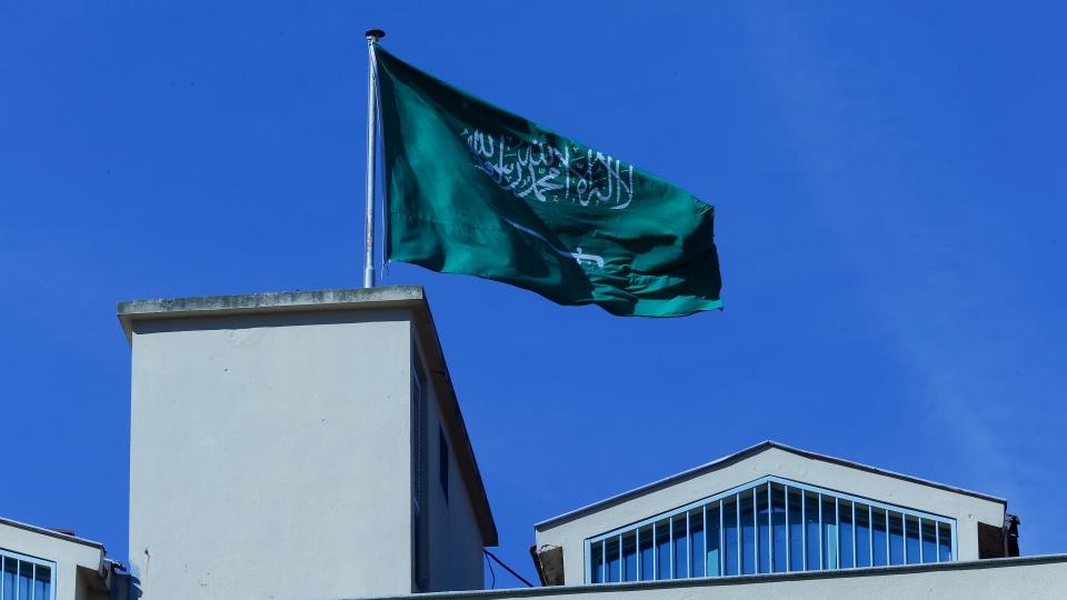 A Saudi Arabia's flag flies over the country's consulate in Istanbul, Sunday, Oct. 28, 2018. (AP Photo/Lefteris Pitarakis)