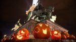 Carved pumpkin lanterns are on display during a Halloween-themed evening at Heroes' Square in Budapest, Hungary, 27 October 2018. EPA/Marton Monus