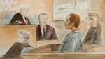The courtroom for Toronto Eaton Centre murder trial on Oct. 29, 2018 is seen in this sketch. (Alexandra Newbould)