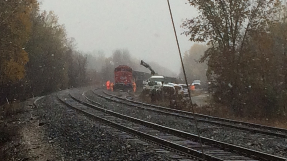 Emergency crews in Coldwater are investigating a diesel spill after a locomotive derailed at a Canadian Pacific rail yard Monday morning. (Rob Cooper/CTV Barrie)