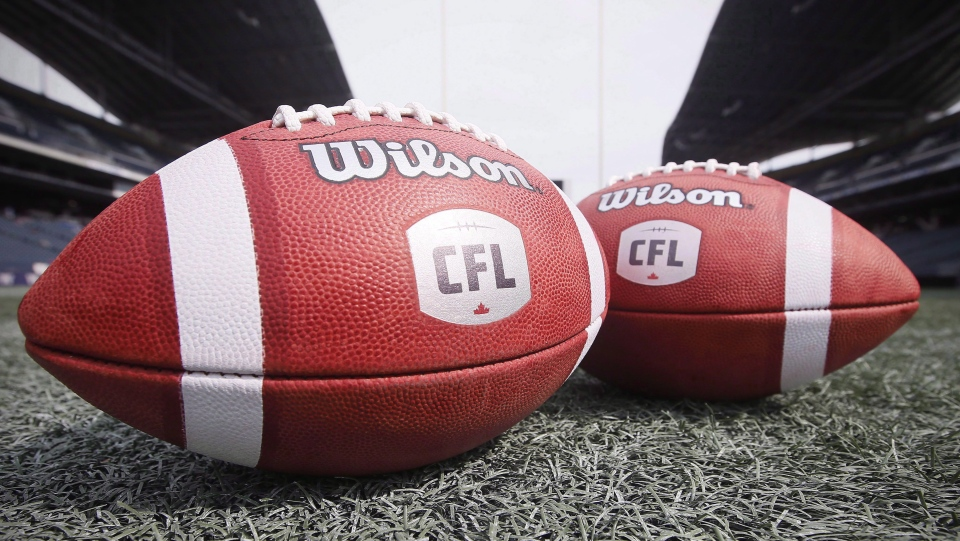 New CFL balls are photographed at the Winnipeg Blue Bombers stadium in Winnipeg Thursday, May 24, 2018. (THE CANADIAN PRESS/John Woods)