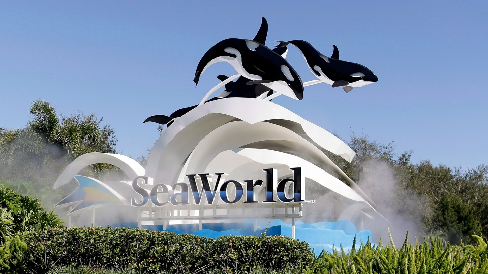 The entrance to SeaWorld is seen, in Orlando, Fla., Tuesday, Jan. 31, 2017. THE CANADIAN PRESS / AP / John Raoux