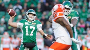 Saskatchewan Roughriders quarterback Zach Collaros looks downfield for a receiver during first half CFL action at Mosaic Stadium in Regina on Saturday, Oct. 27, 2018. THE CANADIAN PRESS/Mark Taylor