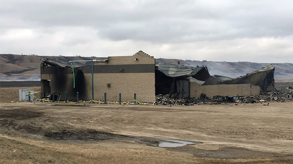 Fire destroyed the water treatment plant on the Piapot First Nation east of Regina on Oct. 29, 2018. (CREESON AGECOUTAY/CTV REGINA)