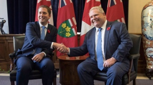Ontario Premier Doug Ford (right) meets with Federal Conservative Leader Andrew Scheer in the Queens Park Legislature in Toronto on Tuesday October 30, 2018. THE CANADIAN PRESS/Chris Young