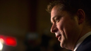 Federal Conservative Leader Andrew Scheer talks with members of the media after his meeting with Ontario Premier Doug Ford in the Queens Park Legislature in Toronto on Tuesday October 30, 2018. THE CANADIAN PRESS/Chris Young