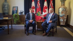 Ontario Premier Doug Ford (right) meets with Federal PC Leader Andrew Scheer in the Queens Park Legislature in Toronto on Tuesday, October 30, 2018. (THE CANADIAN PRESS/Chris Young)