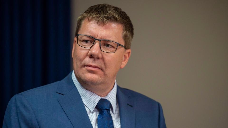 Saskatchewan Premier Scott Moe during a media event in Saskatoon, October 4, 2018. (THE CANADIAN PRESS/Liam Richards)