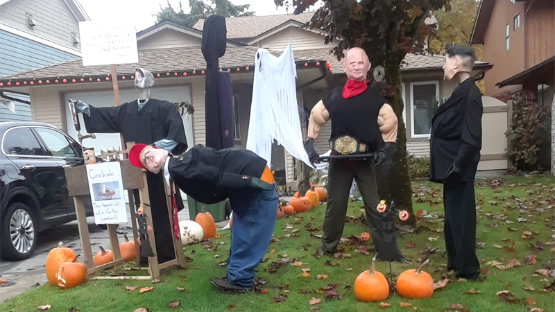 At least one neighbour thinks the Donald Trump-inspired Halloween display on Richmond's Kestral Drive goes too far. (Kim Consolo)