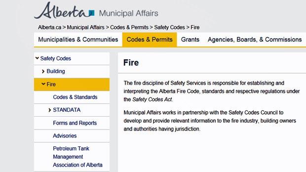 Municipal affairs fire code