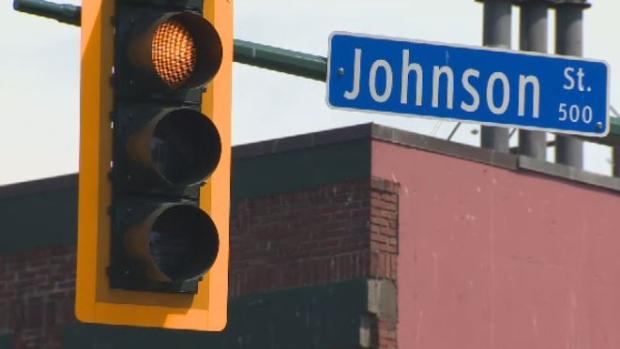johnson street victoria traffic yellow light