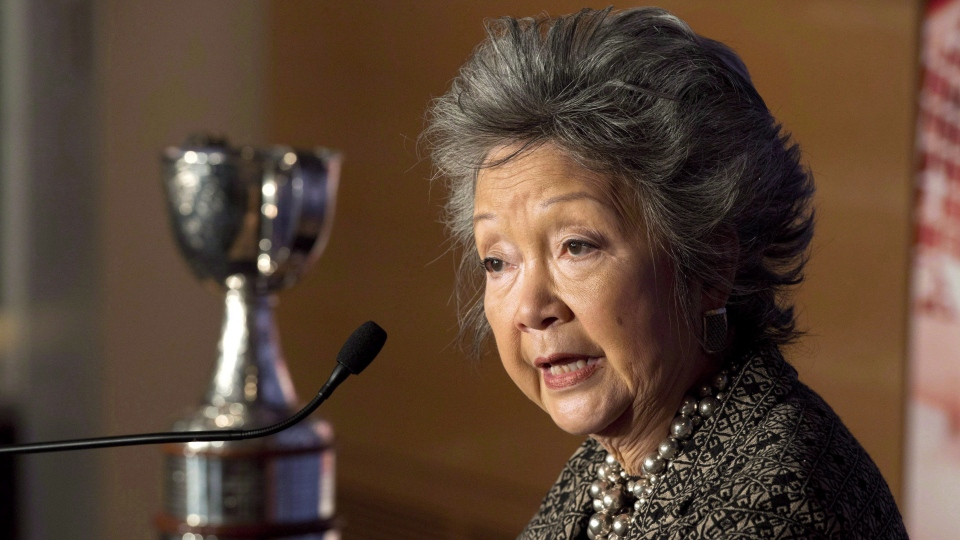 Former governor general Adrienne Clarkson speaks as she donates the Clarkson Cup to the Hockey Hall of Fame in Toronto on Thursday March 7, 2013. Prime Minister Justin Trudeau says he'll reconsider the perks and supports Canada gives former governors general. THE CANADIAN PRESS/Frank Gunn