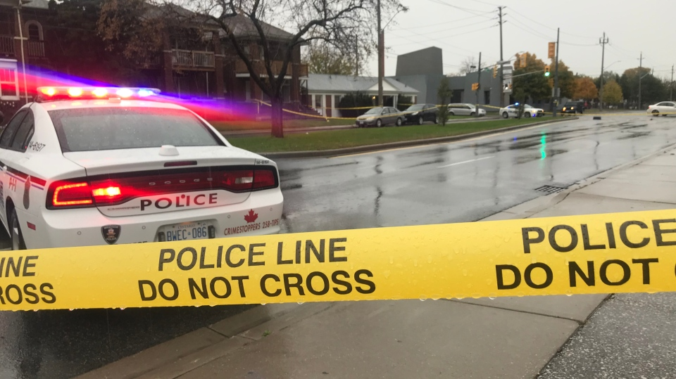 Police have taped off a section of Giles Boulevard in Windsor, Ont., on Thursday, Nov.1, 2018. (Rich Garton / CTV Windsor)