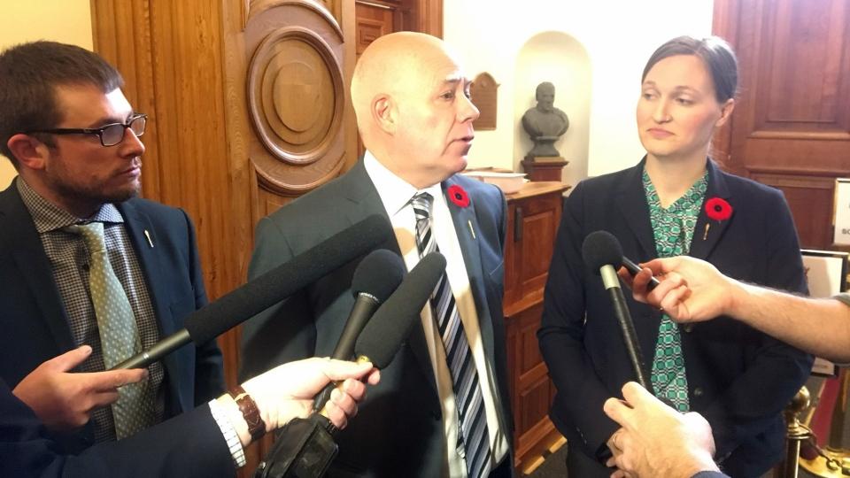 Green MLA Kevin Arseneau, Green Party Leader David Coon, and Green Party Leader Megan Mitton answer questions at the New Brunswick legislature on Nov. 1, 2018. (Laura Brown/CTV)