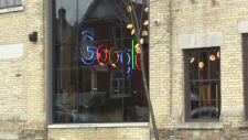 Google sign seen from outside the Kitchener office
