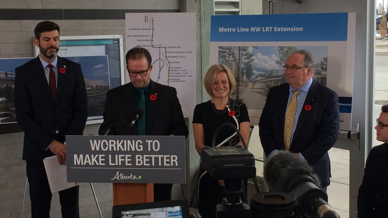 (L-R) Mayor Don Iveson, transit official Wayne Coombs, Premier Rachel Notley and Transportation Minister Brian Mason speak at a news conference announcing funding for two LRT lines on Thursday, Nov. 1, 2018.