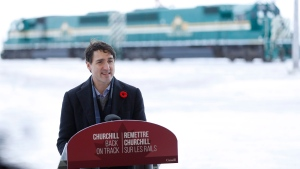Prime Minister Justin Trudeau announces the opening of the repaired railway in Churchill, Manitoba Thursday, November 1, 2018. Prime Minister Justin Trudeau visited Churchill today to announce the opening of the railway and the Port of Churchill. THE CANADIAN PRESS/John Woods