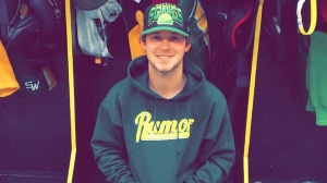 Tyler Smith of the Humboldt Broncos is shown in a handout photo. One of the Humboldt Broncos players who suffered a broken collarbone and shoulder blade in a bus crash last April will be back on the ice with his team for the first time this weekend. (Supplied: Tyler Smith)