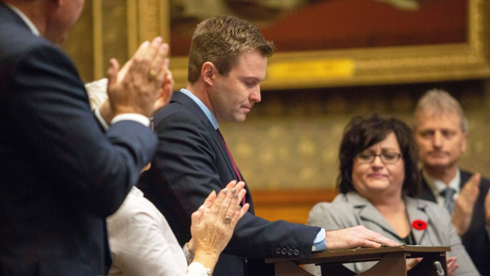 New Brunswick Premier Brian Gallant delivers his speech at the closure of the Throne Speech at the New Brunswick Legislature in Fredericton on Friday, Nov. 2, 2018. (ames West / THE CANADIAN PRESS/)