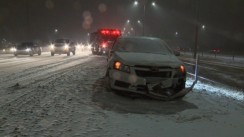 One collision on Anthony Henday Drive Friday morning caused issues for rush hour traffic.
