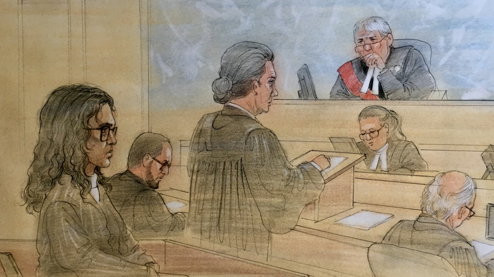 Rohinie Bisesar appears in court, where she pleaded not guilty to a charge of first-degree murder, on Nov. 2, 2018. (Sketch by John Mantha)