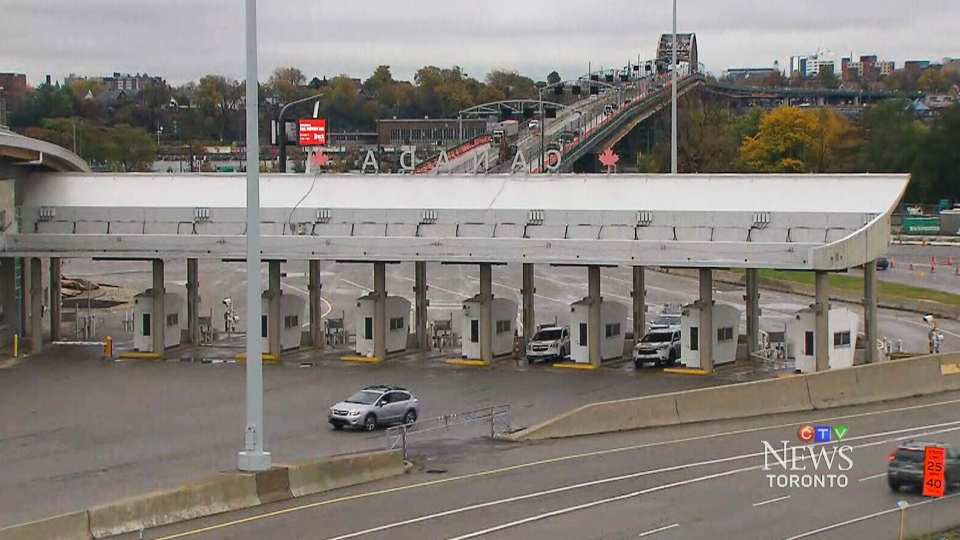 The Peace Bridge in Fort Erie, Ont., at the Canada-U.S. border, is seen here. Twenty-five handguns hidden in a gas tank were seized at the border, sources tell CTV News.