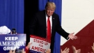 U.S. President Donald Trump takes the stage to speak at a campaign rally in Indianapolis, Friday, Nov. 2, 2018. (AP Photo/Michael Conroy)