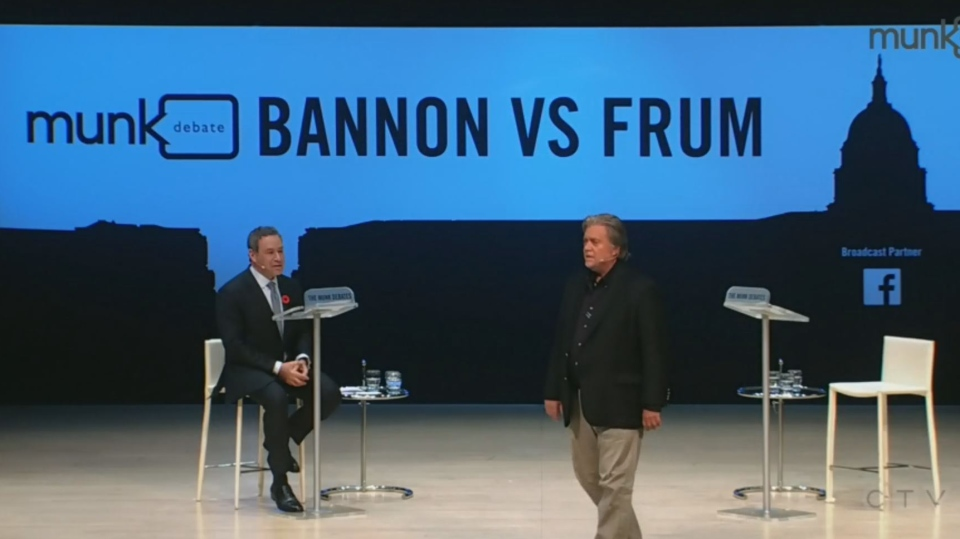 Steve Bannon and David Frum during a Munk Debates event about populism in politics. (CPAC/TheMunkDebates)