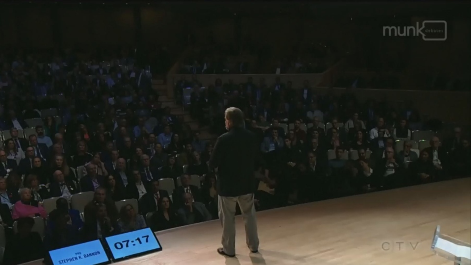 Steve Bannon speaks to the audience during a Munk Debates event about populism in politics. (CPAC/TheMunkDebates)