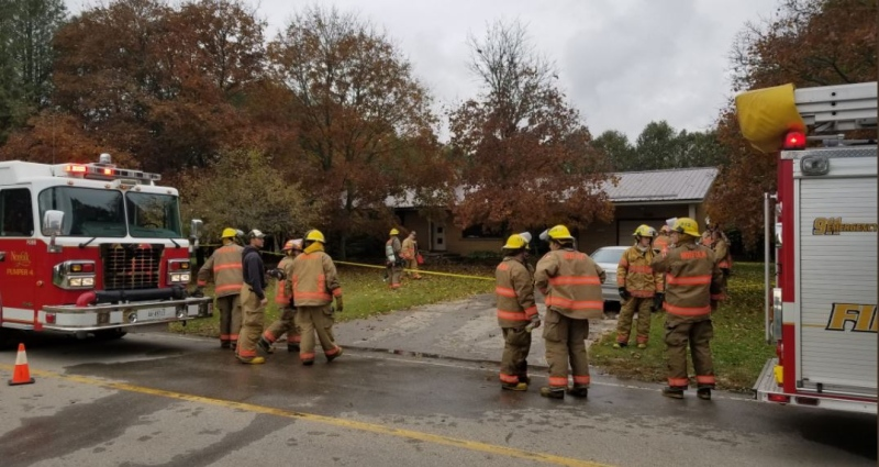 Firefighters on scene of a fatal fire in Norfolk County on Saturday, Nov. 3, 2018 (Source: OPP)