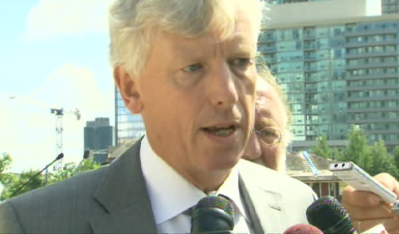 Toronto Mayor David Miller speaks with CTV Toronto during a ceremony marking the revitalization of the historic railway roundhouse, Thursday, July 8, 2009.