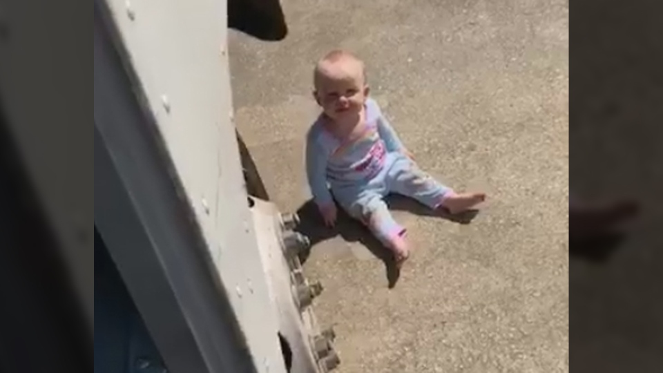 FedEx driver Byron Nash found a toddler on the ground next to his truck and returned her to her home. (Byron Nash / Facebook)