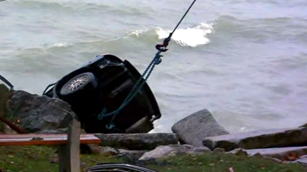 Halton Regional Police say a vehicle drove into Lake Ontario in Oakville on Nov. 5, 2018.