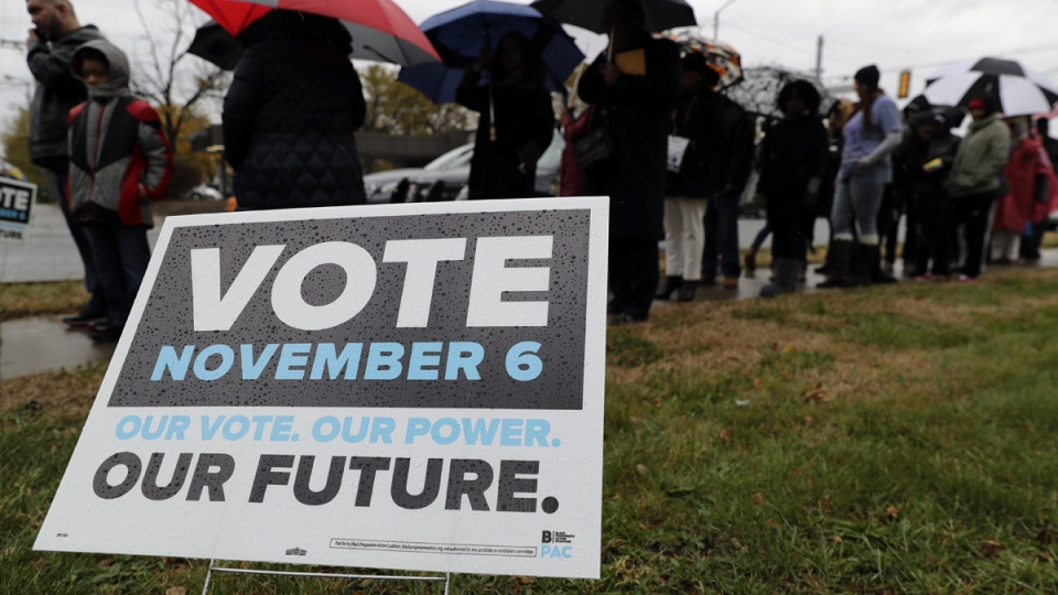 A sign displays outside of Genesis Convention Center in Gary, Ind., before former President Barack Obama attends to support Indiana Democratic congressional candidate U.S. Sen. Joe Donnelly during a campaign rally, on Nov. 4, 2018. (Nam Y. Huh / AP)