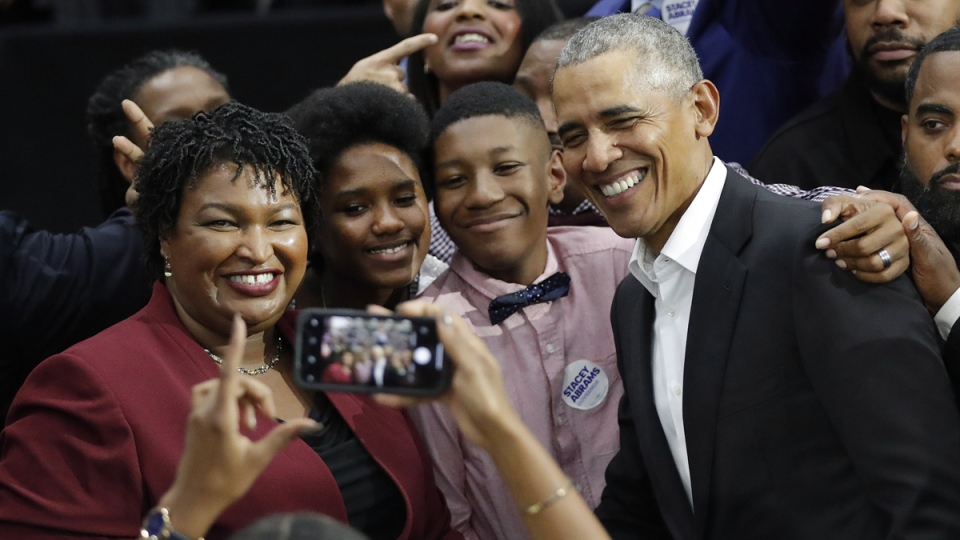 Barack Obama and Stacey Abrams