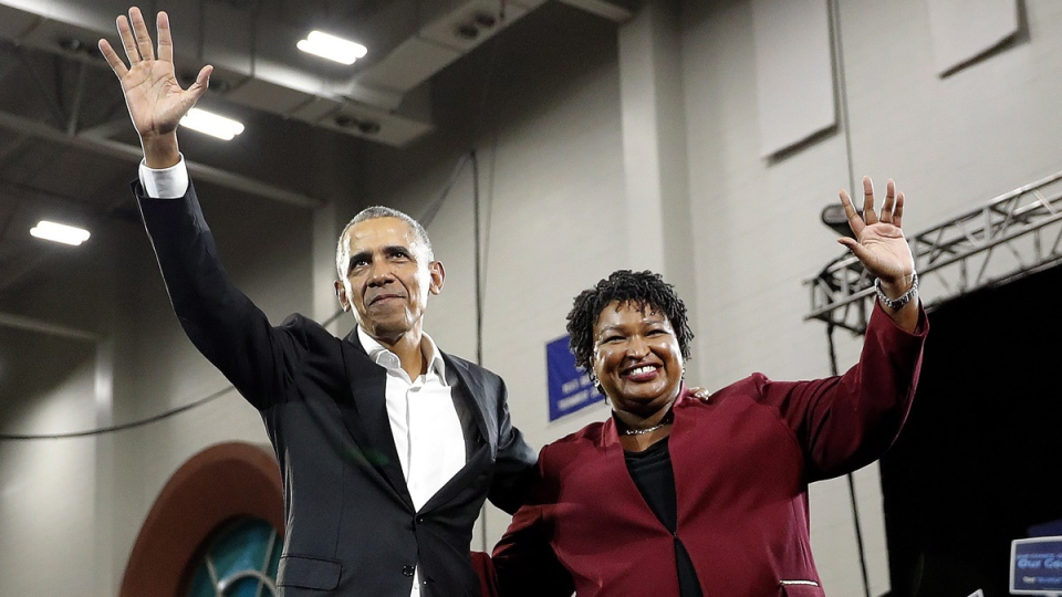 Former President Barack Obama and Democratic candidate for Georgia Governor Stacey Abrams at Morehouse College, on Nov. 2, 2018. (John Bazemore / AP)
