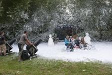 fake snow film movie tv set