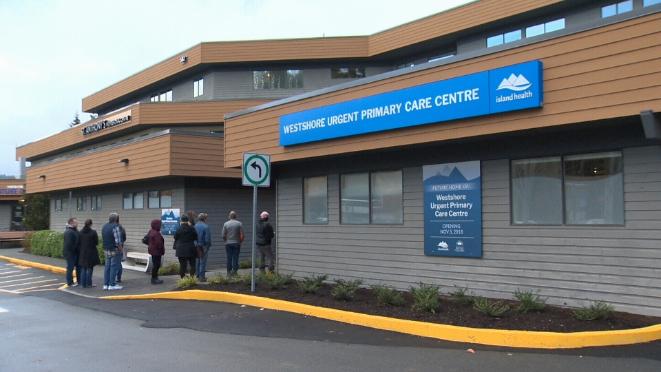 More than a dozen people lined up on opening day of a new urgent primary care facility in Langford Monday morning. Nov. 5, 2018. (CTV Vancouver Island)