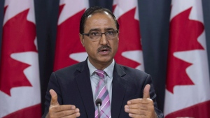 Natural Resources Minister Amarjeet Sohi speaks about the government's plan for the Trans Mountain Expansion Project during a news conference in Ottawa, Wednesday October 3, 2018. THE CANADIAN PRESS/Adrian Wyld