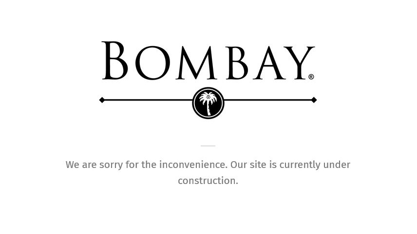 "The website of housewares retailer Bombay displays an ""under construction"" message on Tuesday, Nov. 6, 2018."