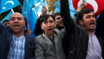 People from the Uighur community living in Turkey carrying flags of what ethnic Uighurs call 'East Turkestan', chant slogans during a protest in Istanbul, Tuesday, Nov. 6, 2018, against what they allege is oppression by the Chinese government to Muslim Uighurs in far-western Xinjiang province. (AP Photo/Lefteris Pitarakis)