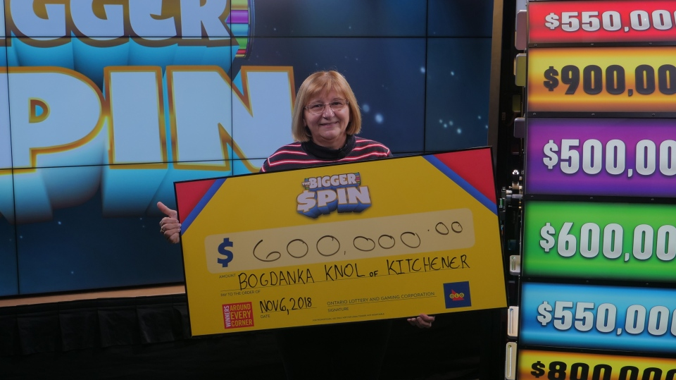 Bogdonka Knol, 64, won $600,000 on a Bigger Spin lottery game. (Source: OLG)