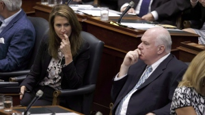 Caroline Mulroney, Attorney General of Ontario, left, and Jim Wilson, minister of economic development, are seen as the legislature sits inside Queens Park in Toronto on Saturday, Sept. 15, 2018. THE CANADIAN PRESS/Cole Burston