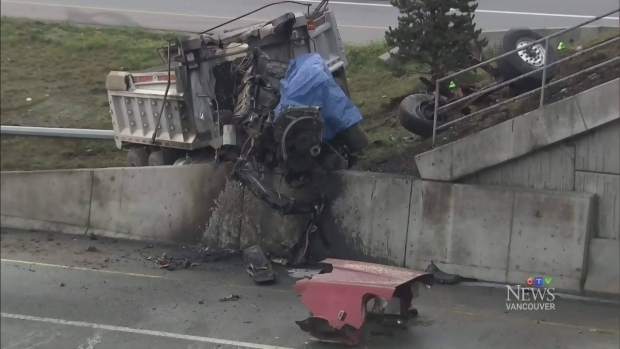 Driver killed in dump truck crash on Hwy  1 | CTV News