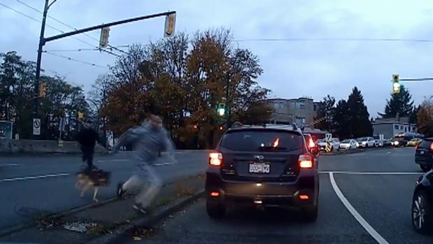 Caught on cam: Fleeing suspect bitten by police dog on Granville